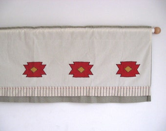 Geometric Tribal Kilim Motif Valance Bohemian Chic Kitchen Curtain Boho Window Treatment Vintage Look Modern Tribal  Valance