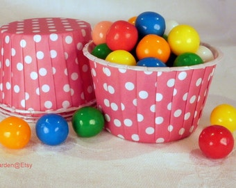 24 Hot Pink Polka Dot Cupcake Muffin Candy Nut Cups -  Birthday Parties Showers Weddings 24 ct