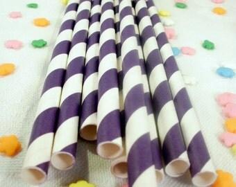 25 Grape Purple Striped Paper Straws