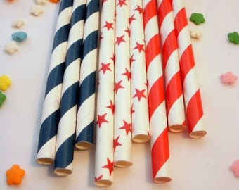 50 Red White and Blue Patriotic Paper Straws