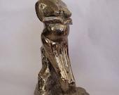 Abstract Sitting Mother Portrait, Sculpture Ceramic figure, Modern Art craft Ceramic, Platinum Sculpture.