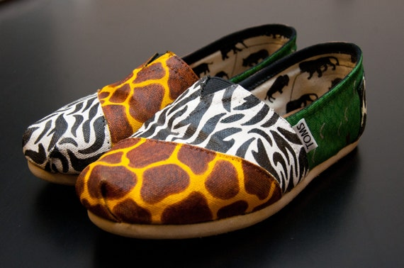items similar to animal print custom painted canvas shoes