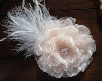 SALE! Head Piece, Wedding Bride Pale Blush Flower Bloom Hair Accessory with Silver-Toned Rhinestones  and Ostrich Feathers