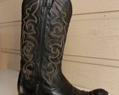 70s Vintage PANHANDLE SUN black leather Cowboy OR Cowgirl  Boot for Men Size 8 - Women Size 9.5 handcrafted in Mexico