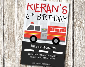 Fire Truck Birthday Invitation - Printable and Personalised
