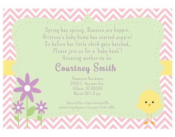 items similar to spring baby shower invitation on etsy