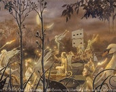 "SPRING PROCESSION (Unframed 36""x18"" Giclée Print) Fairy Art / Faery Art  by David Delamare"