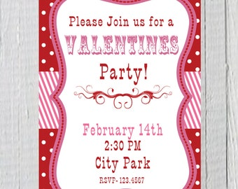 Valentines Party Invitation Printable 5 x 7