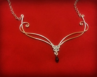 medieval elven faery fantasy necklace with Swarovski elements in Silver