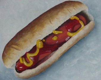 "Hot Dog on Bun ketsup and mustard oil on canvas 8""x10"""