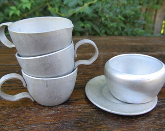 Vintage Aluminum Play cups  - Tin Toy Kitchenware