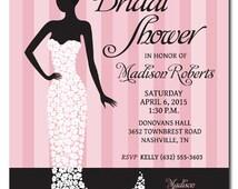 Printable Bridal Shower Invitation - Digital File - Light Pink / Blush Pink Wedding Shower - Bride Silhouette Dress made of flowers