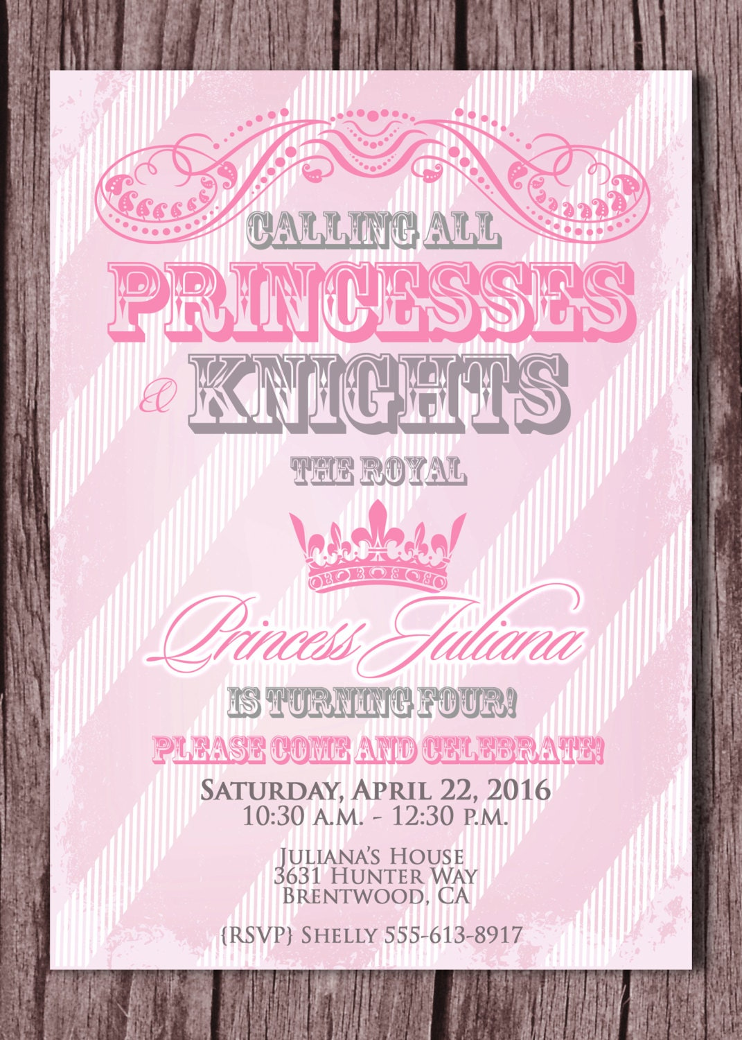 Princess and Knight Birthday Party Invitation Prince and – Princess and Knight Party Invitations