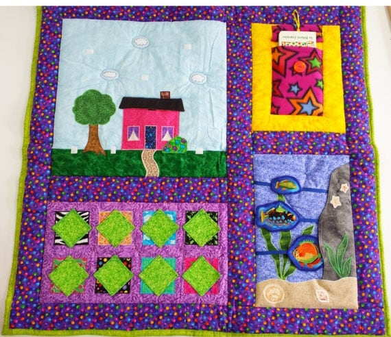 Kid quilt, Activity Quilt, Handmade Quilt, Wall hanging, Homemade, Travel children's entertainment, Toddler blanket, children quilt