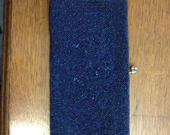a vintage marforio venezia two tone blue/purple beaded purse