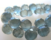 Teal Blue Green Moss Aquamarine Micro Faceted Onion Briolettes Beads 8mm - 4 inch Strand