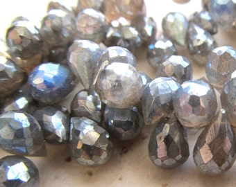 Labradorite Faceted Teardrop Beads W/ an Iridescent Metalic Coating 9 X 6mm - 8 inch Strand