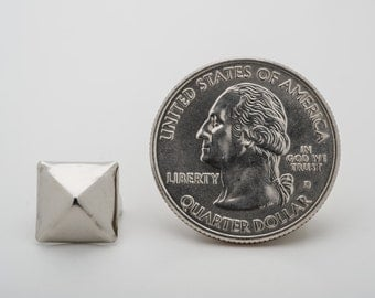 100 Medium Silver Pyramid Studs for Punk Vintage Clothing. StudsAndSpikes Denim and LeatherCraft