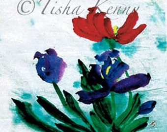 Tulips Asian Brush Painting on Rice Paper hand made card printed on fine linen paper.