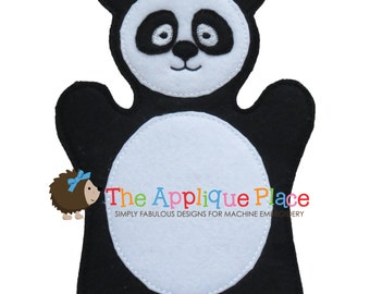 Panda Hand and Finger Puppet In The Hoop Machine Embroidery Applique Design