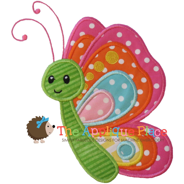 Butterfly applique design instant digital download file for