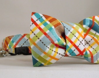 Cat Collar or Kitten Collar with Flower or Bow Tie  - Lil' Biasplaid
