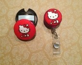Hello kitty matching retractable ID clip and stethoscope ID tag