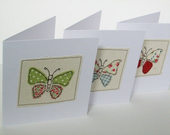 Butterfly Card - Machine Embroidered Greeting Card - Applique - Handmade Card - Blank Card - Card for a Girl - Wife - Girlfriend - Mum - Mom