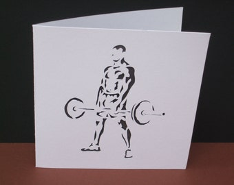Weight Lifter Card - Strong Man - Paper Cut Card - Handmade Greeting Card - Fitness - Gym - Birthday Card - Husband, Boyfriend, Personalised