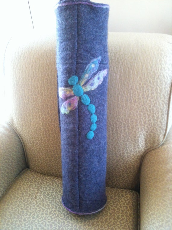 Upcycled Recycled Repurposed Purple Heather Felted Wool Yoga Bag with Needle-Felt and Felt DragonFly, turquoise, muticolored