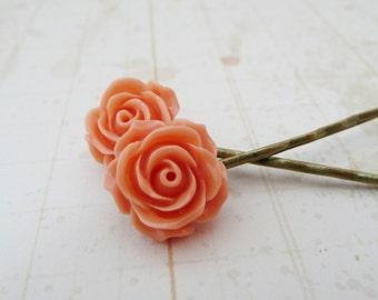 Retro resin coral/peach flower hair pins No. H9