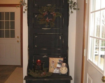 Antique Door Hall Tree with storage bench
