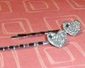 Lovey Dovey Hearts With Crystals Bobby Pins