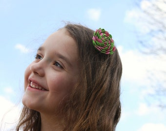 Light Pink and Lime Ric-Rac Rose Hair Clip or Headband.