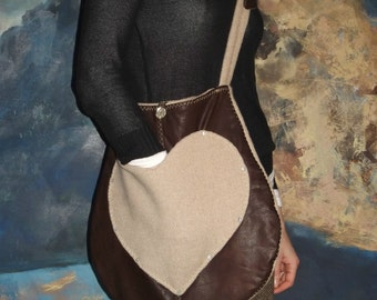 Large, Brown Leather and Beige Wool Across the Shoulder Bag