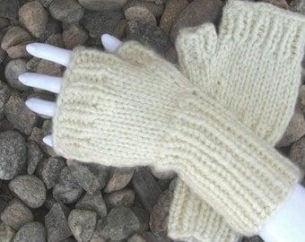 Knit Fingerless Gloves, White Hand Warmers, Bulky Rib Cuff