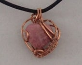 Necklace, Rhodonite Heart, and Copper