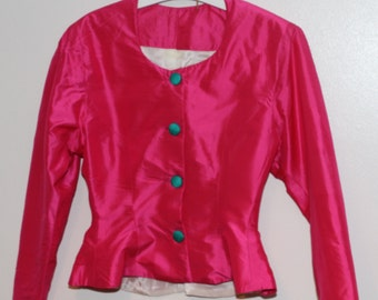 Cerise Pink Silk Jacket size 8 (UK)