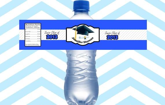 15CT-Graduation Water Bottle Labels Personalized, Blue Grad Water ...