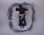 Primitive Doll - Black Mouse Pikky. Stuffed, rag, cloth doll. Home decor.