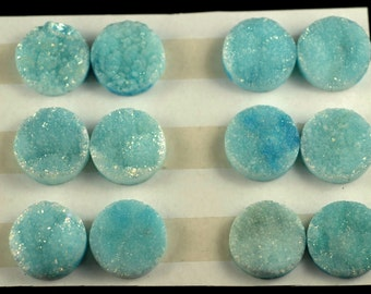 Huge 3 Pieces Alice Blue Round Calibrated Druzy Cabochon 18mm B58DR8011