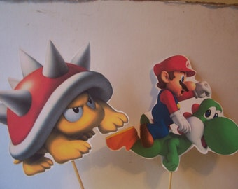 """7 pc. Prop set  for Mario bros.  Cut outs on 10"""" stakes"""