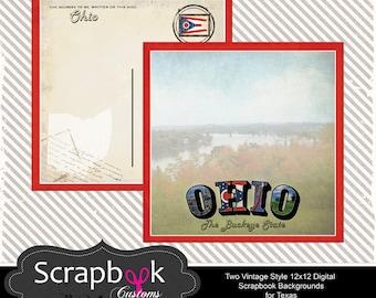 Ohio Digital Scrapbook Paper. Vintage. Instant Download.