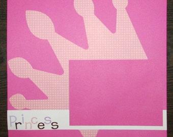 12x12 Premade Princess Scrapbook Page, Girl's Scrapbook Page, Girl's Premade Page, Girl's Scrapbook, Girl's Premade Layout,Premade Scrapbook