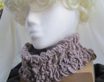 D101 Soft Ruffled Taupe Cowl
