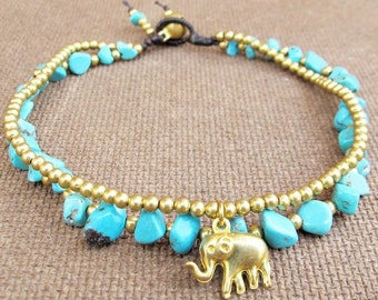 Turquoise Ankle Bracelet - Double Strands Turquoise Stone Brass Bead added Elephant Charm