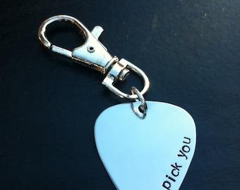 Guitar Pick Key Chain. Hand Stamped- I pick you