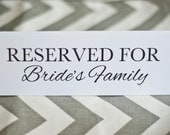 5 x 7 PRINTED Reserved for Bride or Groom's Family - Wedding Reception Party Bridal Shower Rehearsal Dinner Table Signs - Folded Cards