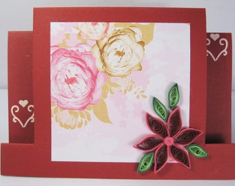 Handmade Birthday Card - Quilled Greeting Card - Quilling Flower Design - Mom / Girlfriend Birthday
