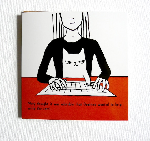 Cool Cat Helping To Write The Card Funny Illustrated Birthday Cat Funny Birthday Cards Online Hetedamsfinfo